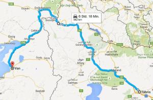 Route Tabriz Van